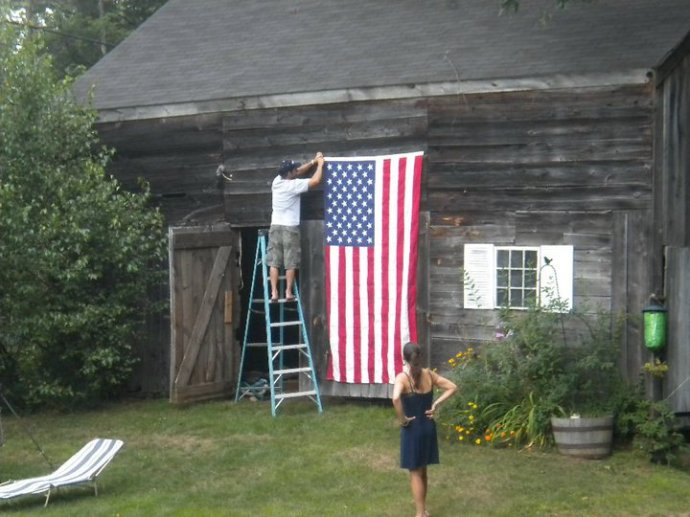 The flag raised on the barn in memory of my father, a Vietnam Veteran.